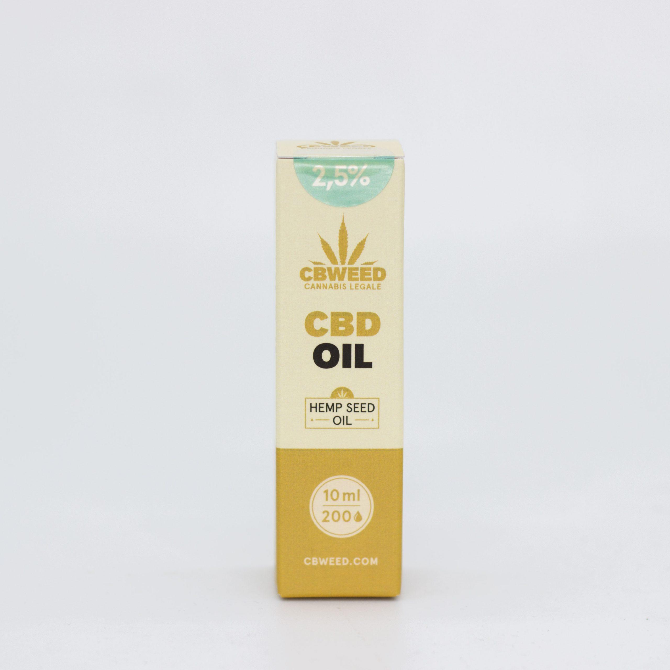 25� olio canapa scaled - Olio CBD con Olio di Semi di Canapa - 2,5% CBD - 10ml